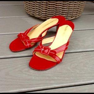 Ellen Tracy leather little heel backless sandals